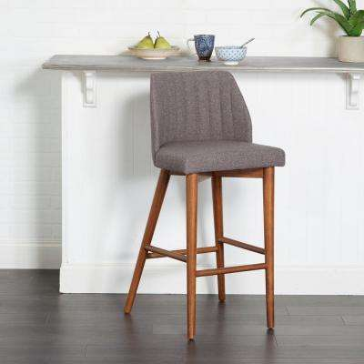 Mid Century 29 in. Gray Wood and Channel Tufting Bar Stool