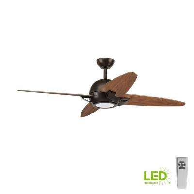 Soar Collection 54 in. LED Indoor Antique Bronze Rustic Ceiling Fan with Light Kit and Remote