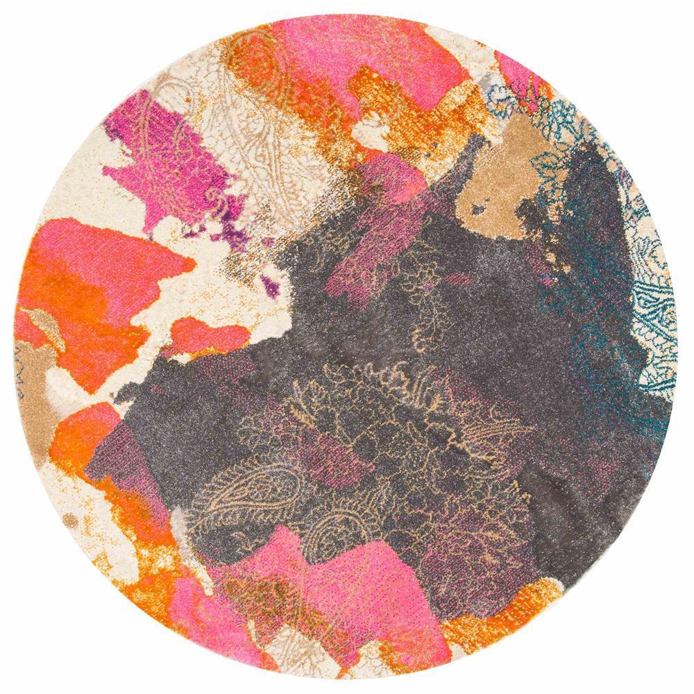 Gresham Pink 5 ft. x 5 ft. Round Area Rug