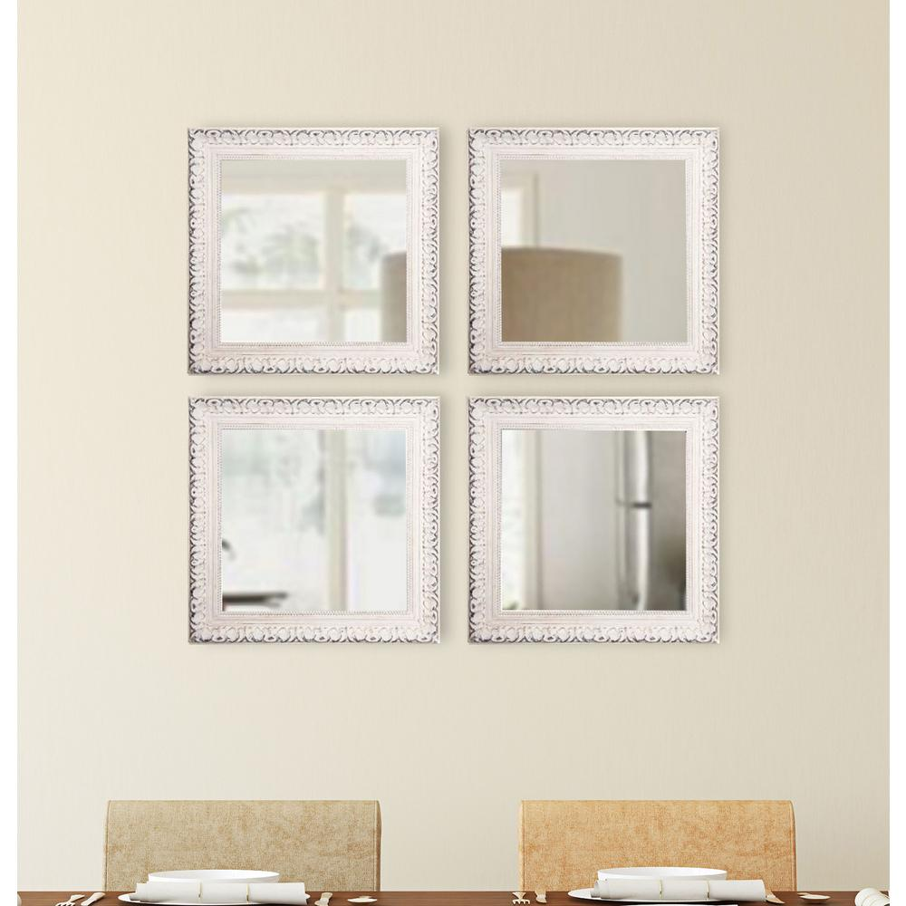 French Victorian Square White Wall Mirrors Set Of