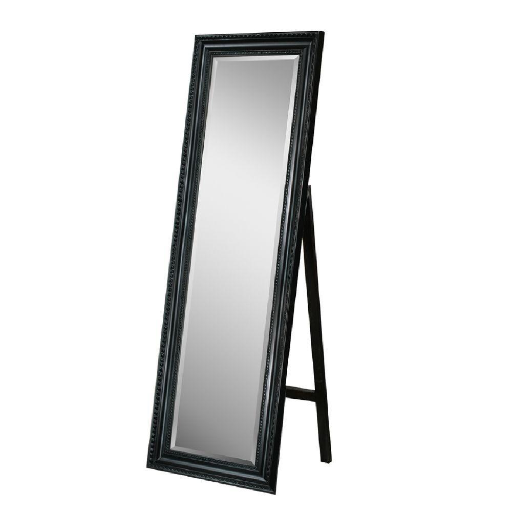 Deco Mirror 18 in. x 64 in. Carousel Floor Mirror in Black