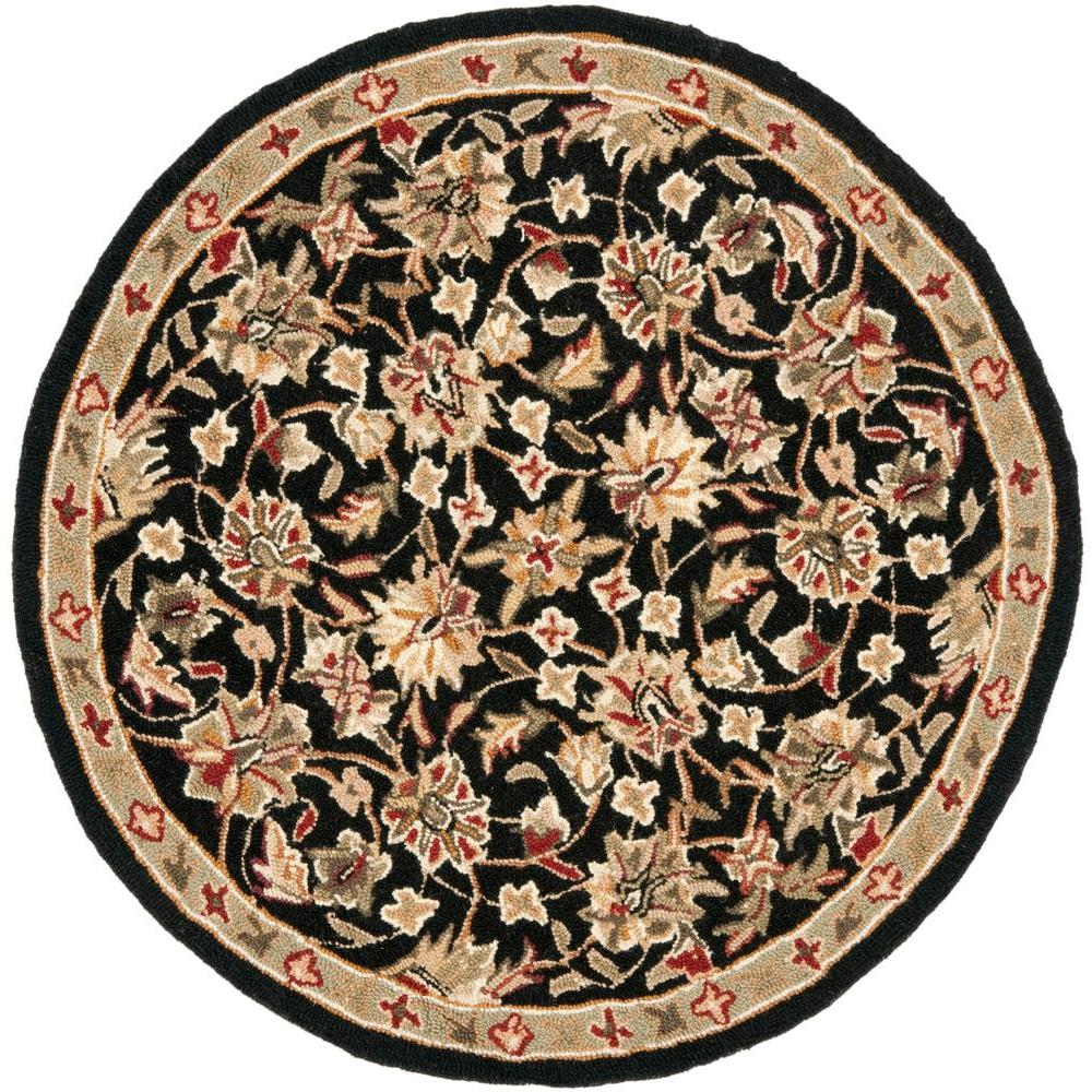 Round Rugs: Safavieh Chelsea Black 3 Ft. X 3 Ft. Round Area Rug-HK78A