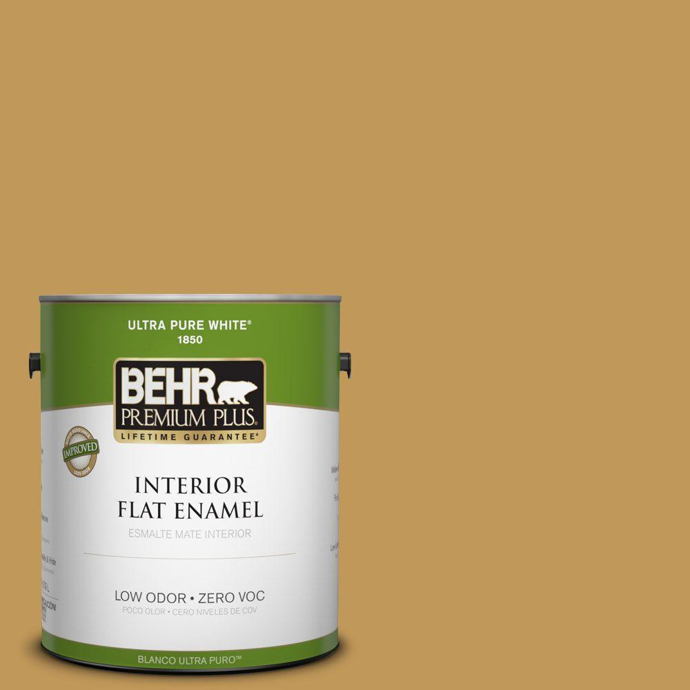 BEHR Premium Plus 1-gal. #330D-6 Townhouse Tan Zero VOC Flat Enamel Interior Paint-DISCONTINUED