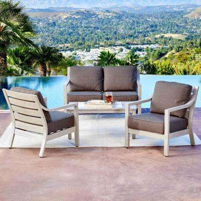 South Beach 4-Piece Aluminum Patio Conversation Set with Brown Cushions