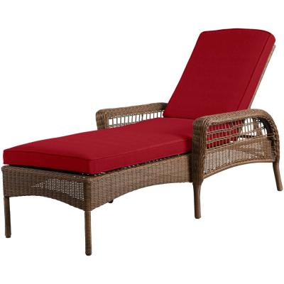 Spring Haven Brown Wicker Outdoor Patio Chaise Lounge with Standard Chili Red Cushions