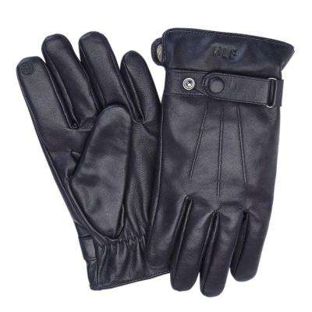 Premium Lambskin Men's Large Black Leather Touchscreen Gloves