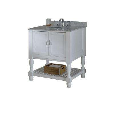 Mission Turnleg Spa 32 in. Vanity in White with Marble Vanity Top in Carrara White with White Basin
