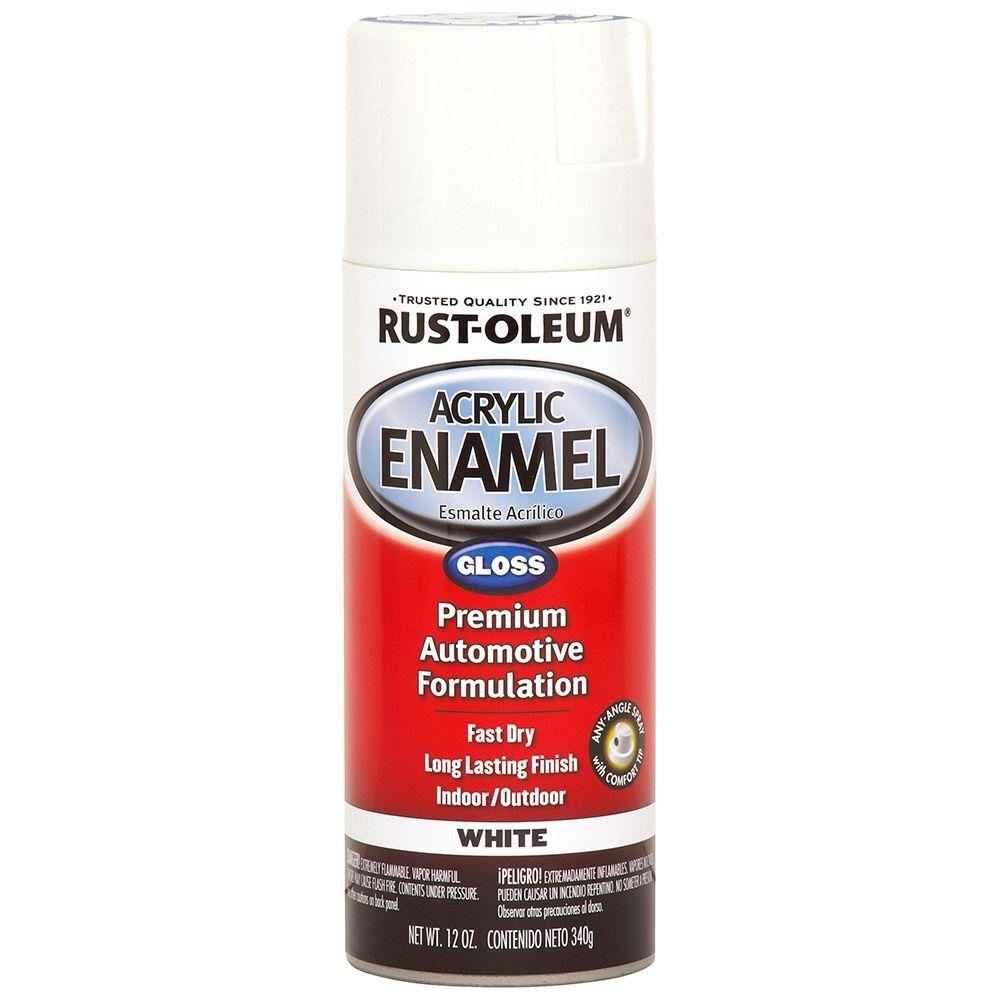 Acrylic Enamel Paint >> Rust Oleum Automotive 12 Oz Acrylic Enamel Gloss White Spray Paint