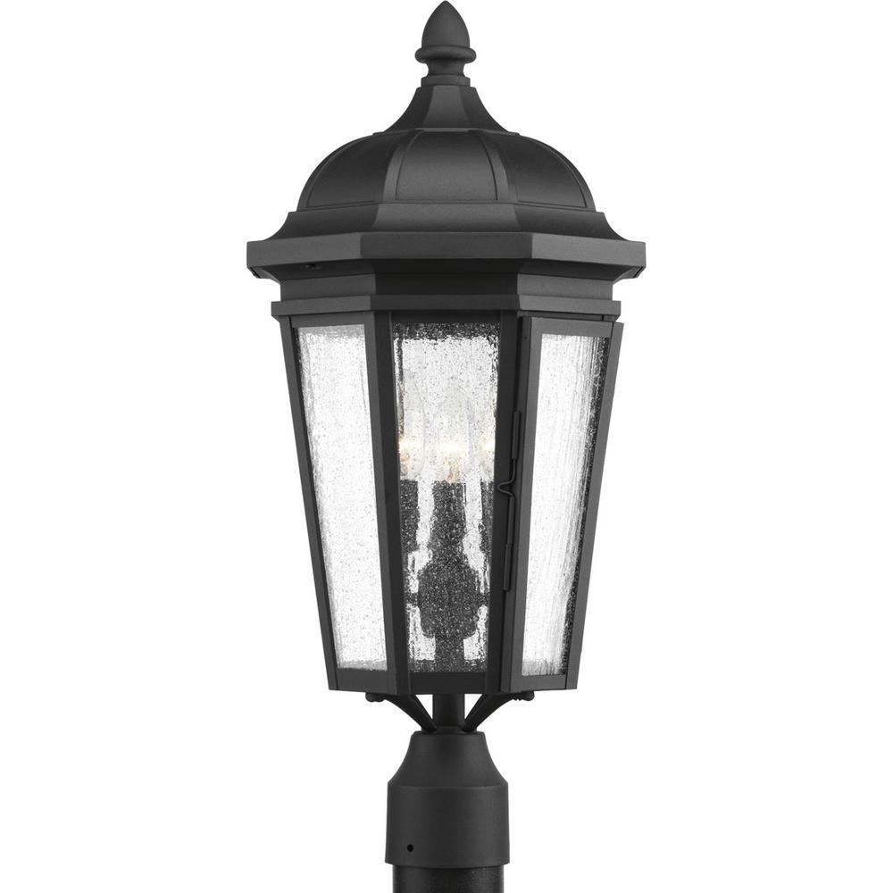 Verdae Collection 3-Light Outdoor Black Post Lantern
