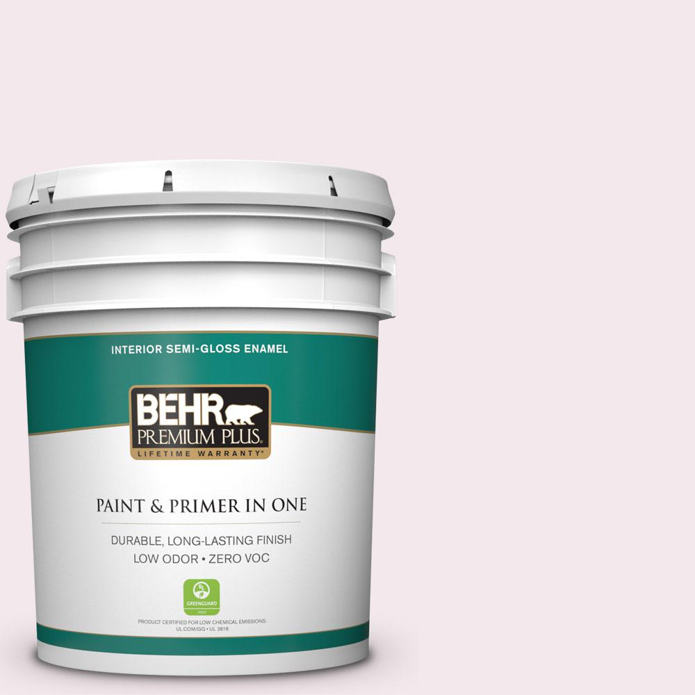 5-gal. #100A-1 Barely Pink Zero VOC Semi-Gloss Enamel Interior Paint