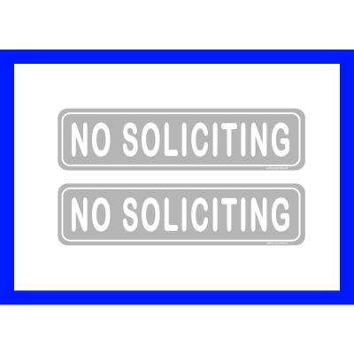 2 in. x 8 in. No Soliciting Sign for Retail Business Office Plastic Sign (2-Pack)
