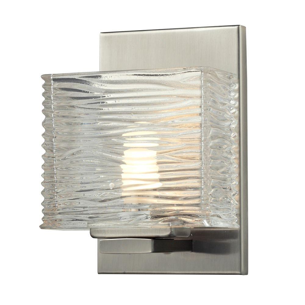 Pure 1-Light Brushed Nickel Bath Vanity Light