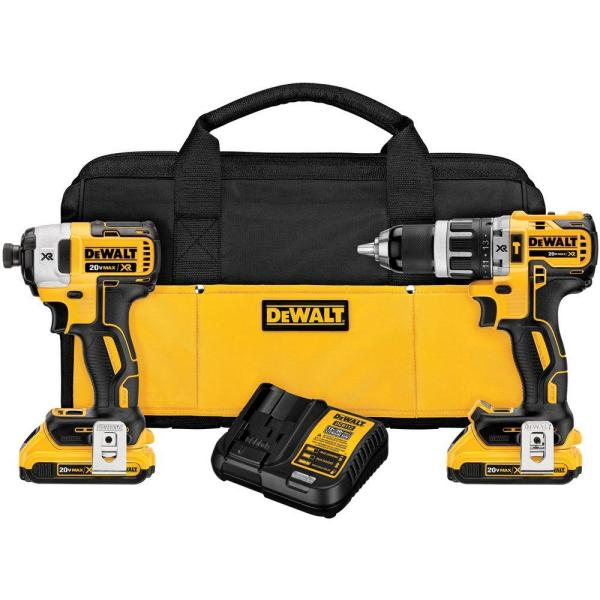 DEWALT 20-Volt MAX XR Lithium-Ion Cordless Brushless Hammer Drill/Impact Combo Kit (2-Tool) with (2) Batteries 2Ah and Charger