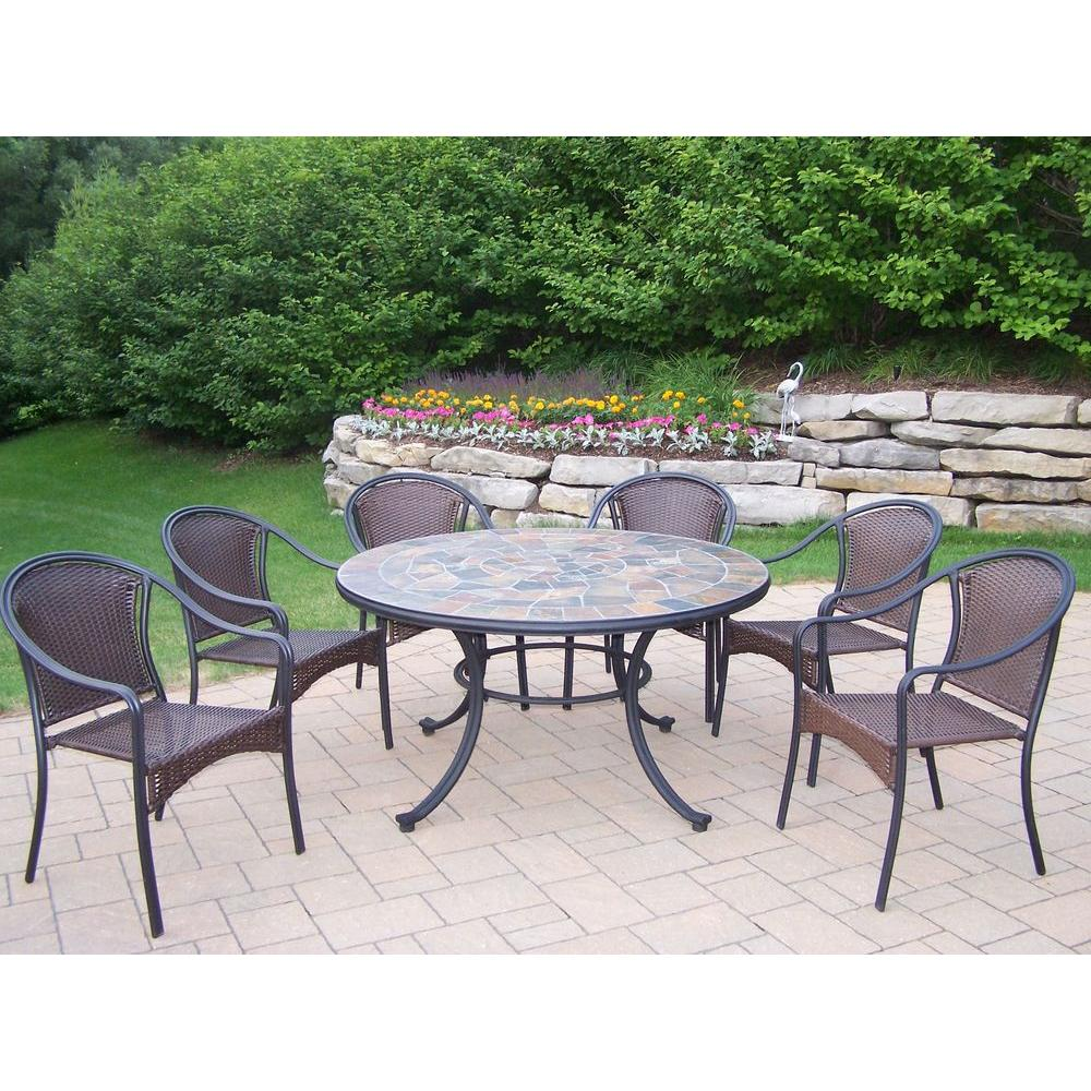 Oakland Living Tuscany Stone Art 54 In. 7 Piece Patio Wicker Chair Dining  Set
