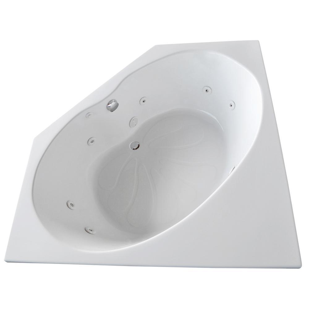 Carnelian 5 ft. Center Drain Whirlpool Tub in White