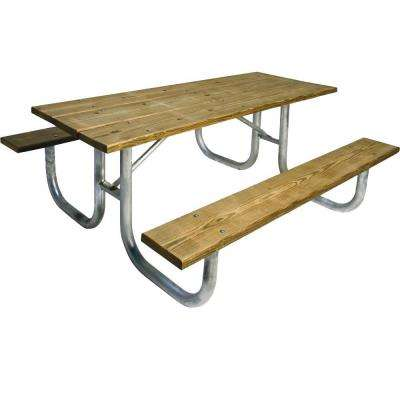 Portable 6 ft. Pressure-Treated Wood Commercial Park Table