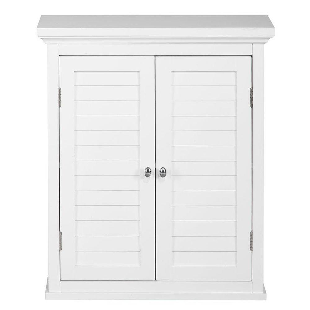 Bathroom storage wall cabinet - Elegant Home Fashions Simon 20 In W X 24 In H X 7 In D Bathroom Storage Wall Cabinet With 2 Shutter Doors In White Hdt583 The Home Depot