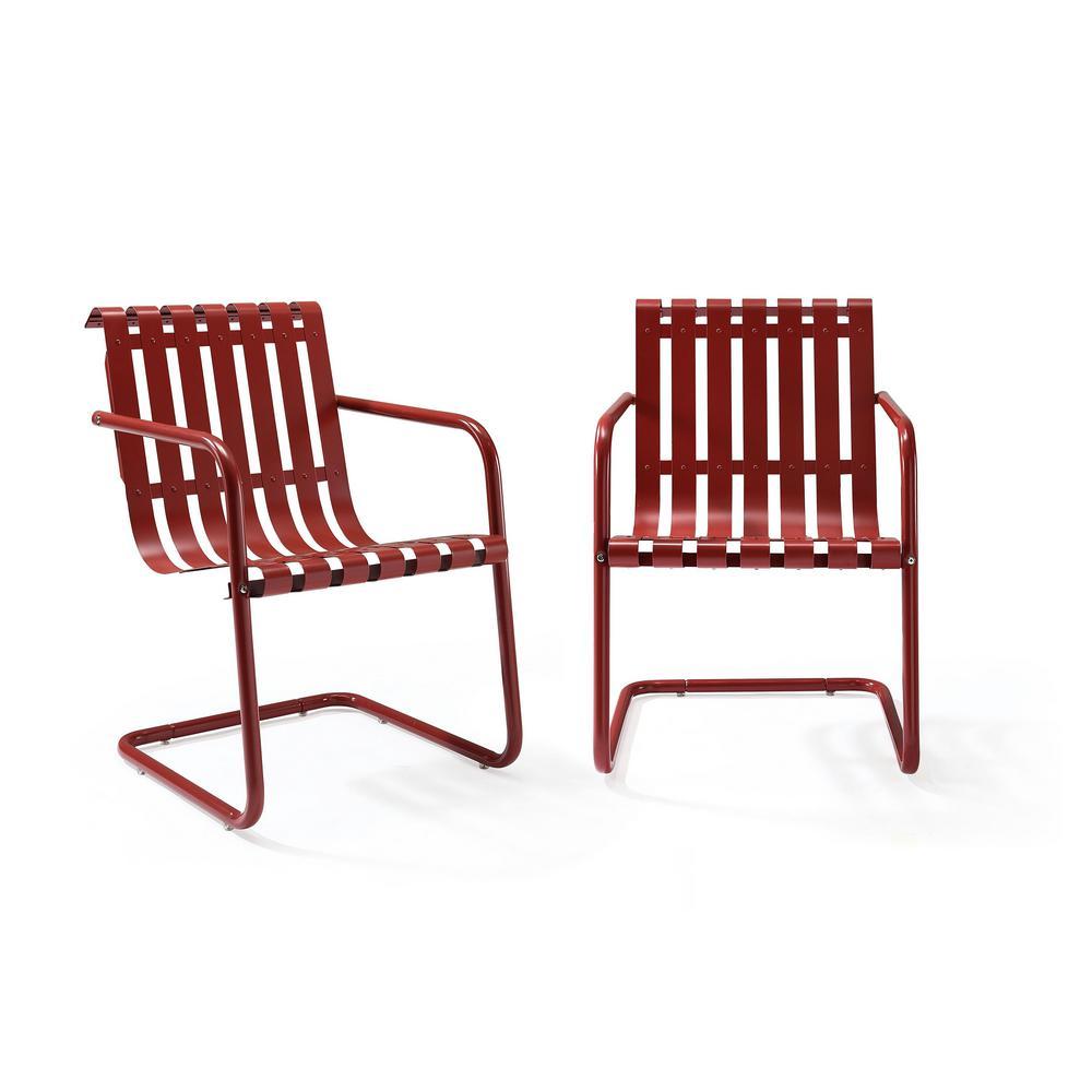 Crosley Gracie Red Metal Outdoor Chair (Set of 2)
