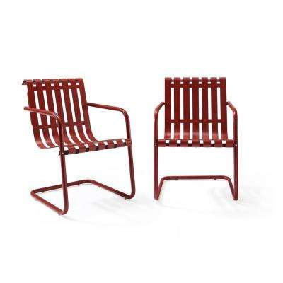 Gracie Red Metal Outdoor Chair (Set of 2)