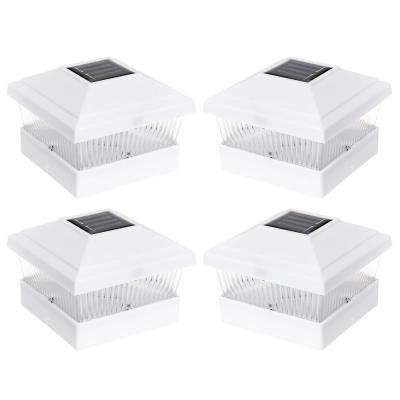 Solar Powered Outdoor Integrated LED White Fence Post Light (4-Pack)