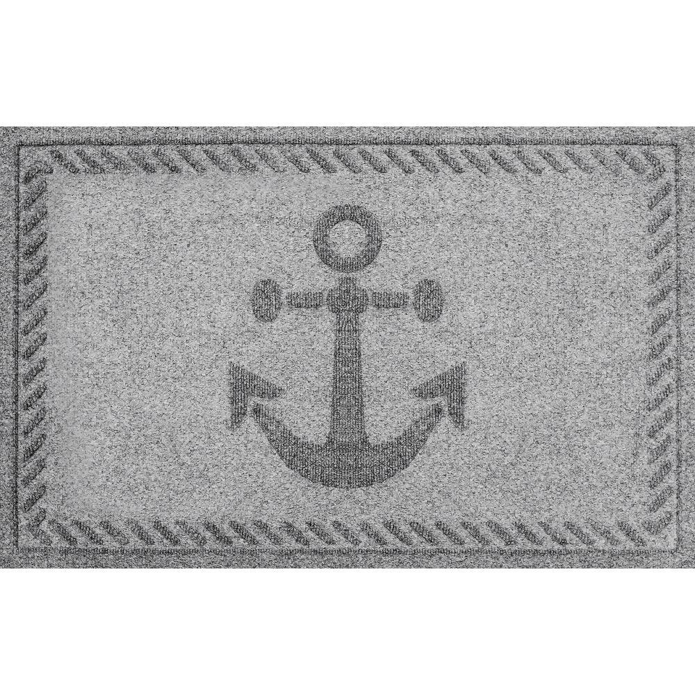 Medium Gray 24 in. x 36 in. Ships Anchor Polypropylene Door Mat