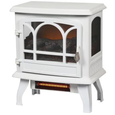 Kingham 400 sq. ft. Panoramic Infrared Electric Stove in White with Electronic Thermostat