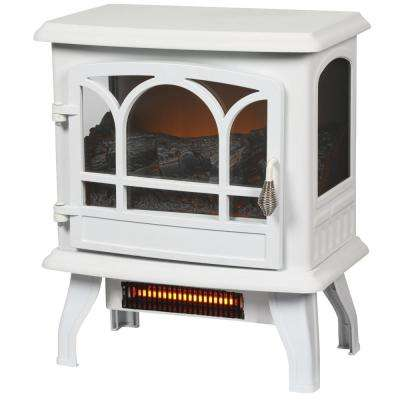 Kingham 1,000 sq. ft. Panoramic Infrared Electric Stove in White with Electronic Thermostat