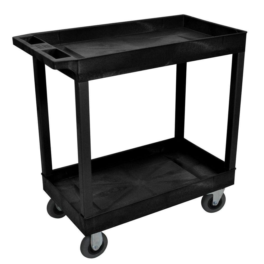 Luxor 18 in. x 32 in. 2-Tub Shelf Plastic Utility Cart with 5 in. Semi-Pneumatic Casters, Black