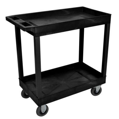 18 in. x 32 in. 2-Tub Shelf Plastic Utility Cart with 5 in. Semi-Pneumatic Casters, Black