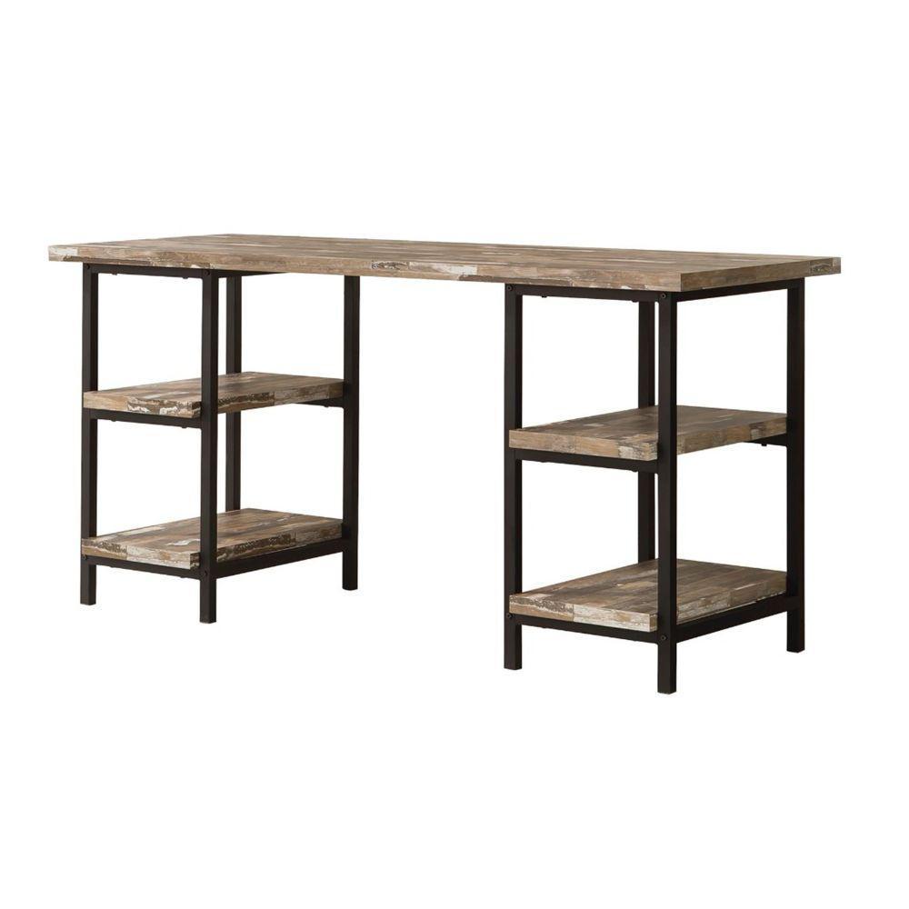 59 in. Rectangular Brown Writing Desks with Open Storage