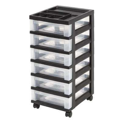 68 Qt. 6 Drawer Storage Bin in Black