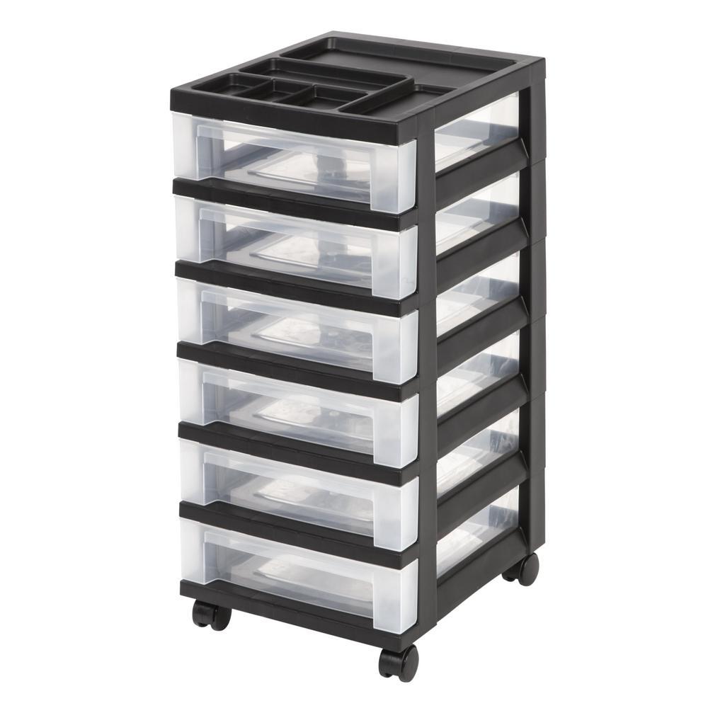 68 Qt. 6 Drawer Storage Bin in Black