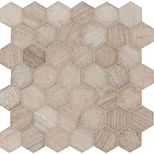 Honeycomb Hexagon 11.75 in. x 12 in. x 10 mm Textured Marble Mesh-Mounted Mosaic Tile (0.98 sq. ft.)