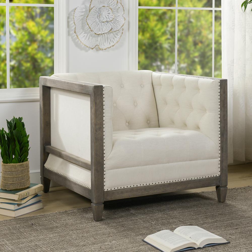 Sylvan Farmhouse Oak Tuxedo Armchair, Natural White