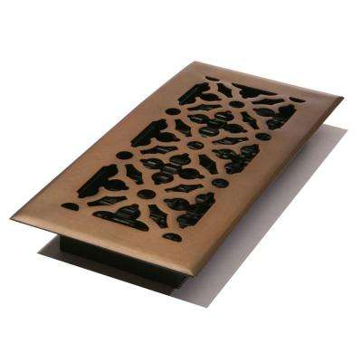 4 in. x 10 in. Steel Gothic Design Floor Register, Rubbed Bronze