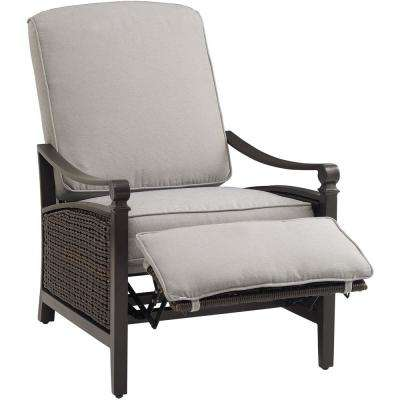 Carson Chestnut And Espresso All Weather Wicker Outdoor Reclining Patio Lounge  Chair With Pewter Cushions
