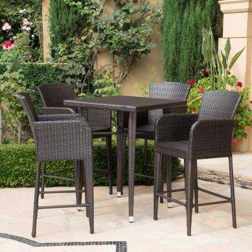 Landis Multi-brown 5-Piece Wicker Outdoor Dining Set