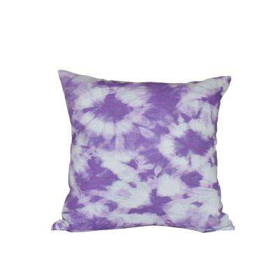 16 in. x 16 in. Purple Chillax Geometric Print Pillow