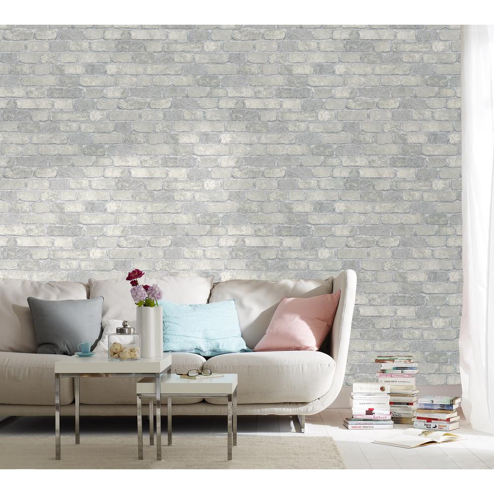 Marburg 56.4 sq. ft. Granulat Off-White Stone Wallpaper MG58411 - The Home Depot
