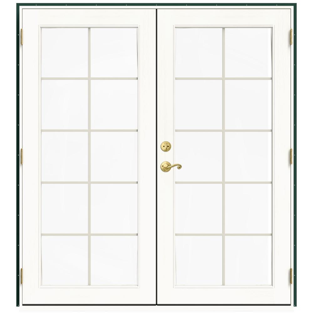 71.5 in. x 79.5 in. W-2500 Hartford Green Left-Hand Inswing French Wood Patio Door