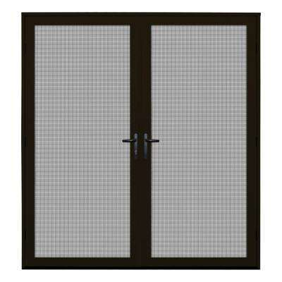 72 in. x 80 in. Bronze Recessed Mount Ultimate Security Screen Door with Meshtec Screen