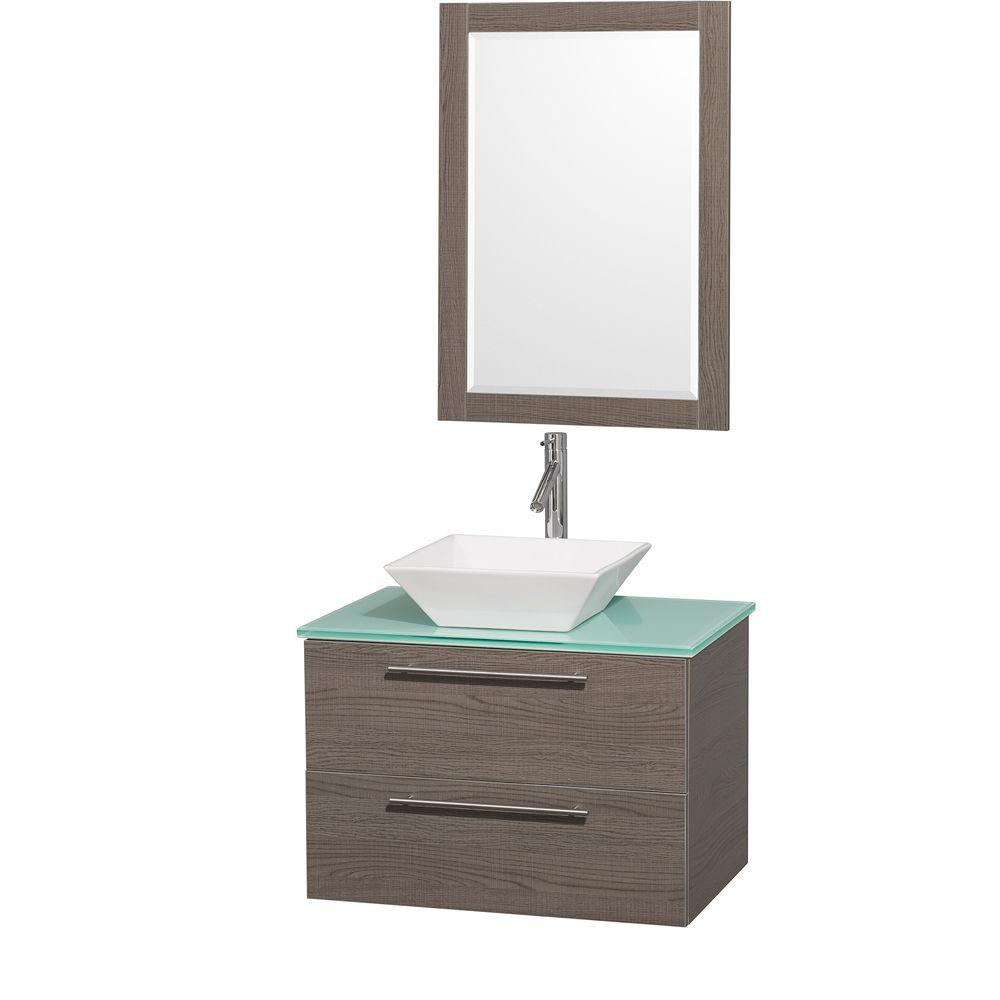 Wyndham Collection Amare 30 in. Vanity in Grey Oak with Glass Vanity Top in Aqua and White Porcelain Sink