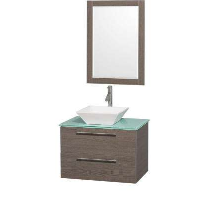 Amare 30 in. Vanity in Grey Oak with Glass Vanity Top in Aqua and White Porcelain Sink