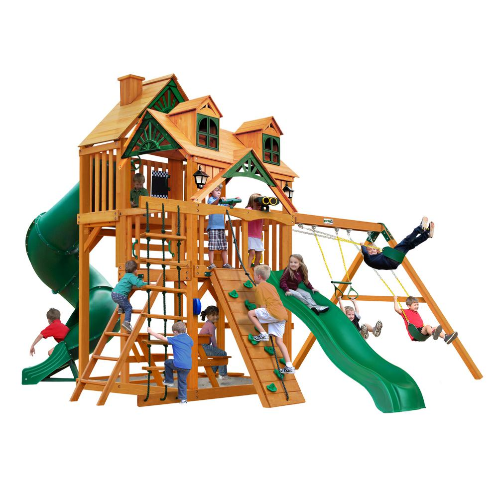 Gorilla Playsets Great Skye I Wooden Playset with Malibu Wood Roof and 2 Slides