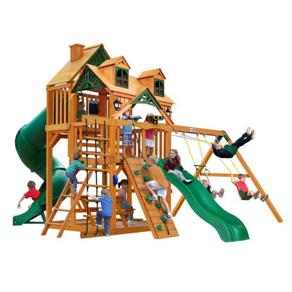 Great Skye I Wooden Swing Set with Malibu Wood Roof and 2 Slides