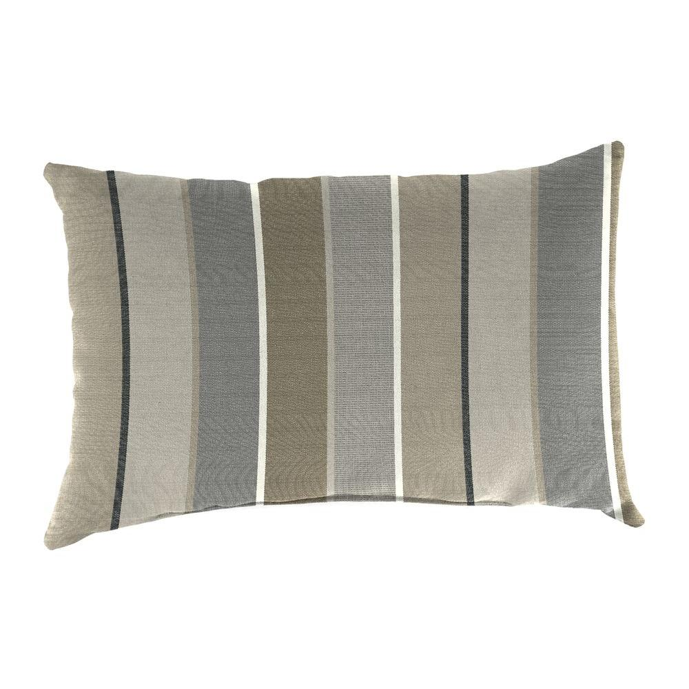 Jordan Manufacturing Sunbrella 19 in. x 12 in. Milano Charcoal Lumbar Outdoor Throw Pillow