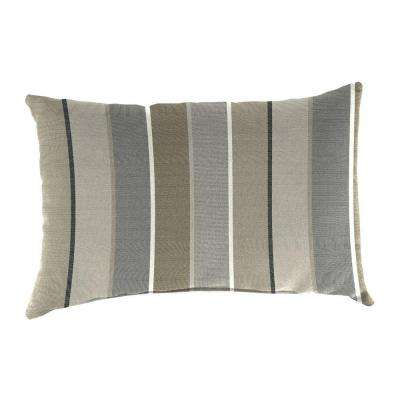 Sunbrella 19 in. x 12 in. Milano Charcoal Lumbar Outdoor Throw Pillow
