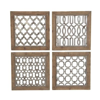 LITTON LANE 19 in. x 19 in. Each Square Wood and Metal Wall Decor Plaques (Set of 4)