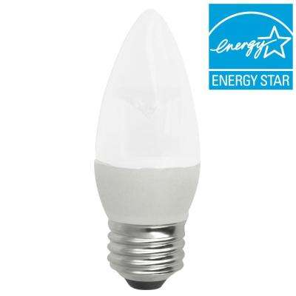 40W Equivalent Soft White (2700K) Blunt Tip Medium Base Frosted Deco LED Light Bulb (2-Pack)