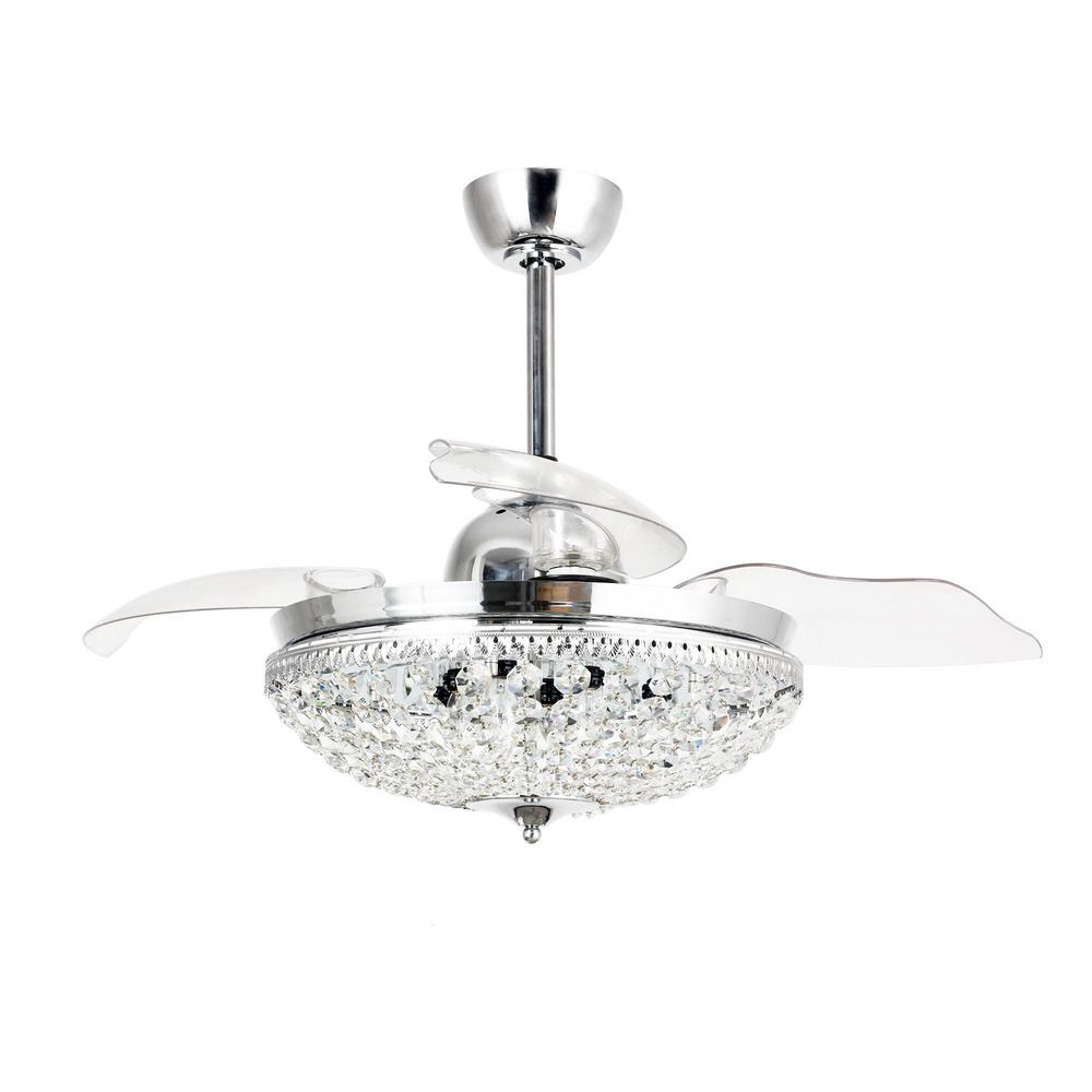 Modern 42 in. Indoor Chrome Retractable Blades Ceiling Fan with Light Kit and Remote Control